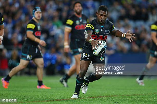 Panthers James Segeyaro kicks ahead during the Preliminary Final against the Bulldogs at ANZ Stadium Sydney Australia Saturday 27th September 2014
