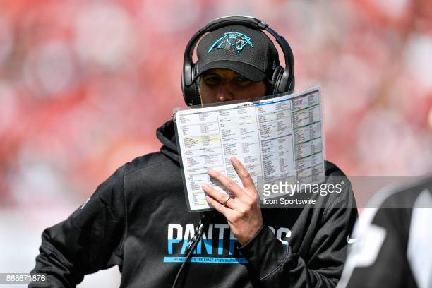 Panthers offensive coordinator Mike Shula during the first half of an NFL football game between the Carolina Panthers and the Tampa Bay Buccaneers on...