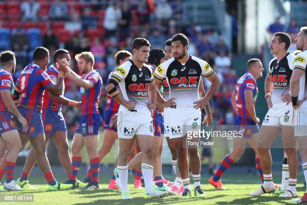 Panthers players look dejected after the Knights scored a try during the round 11 NRL match between the Newcastle Knights and the Penrith Panthers at...