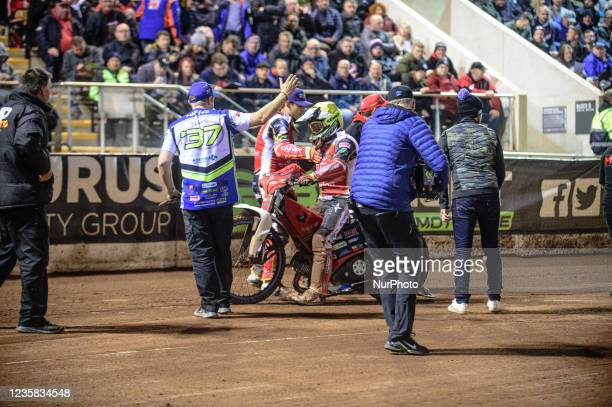 Panthers riders and mechanics congratulate Chris Harris on his win during the SGB Premiership Grand Final 1st Leg between Belle Vue Aces and...
