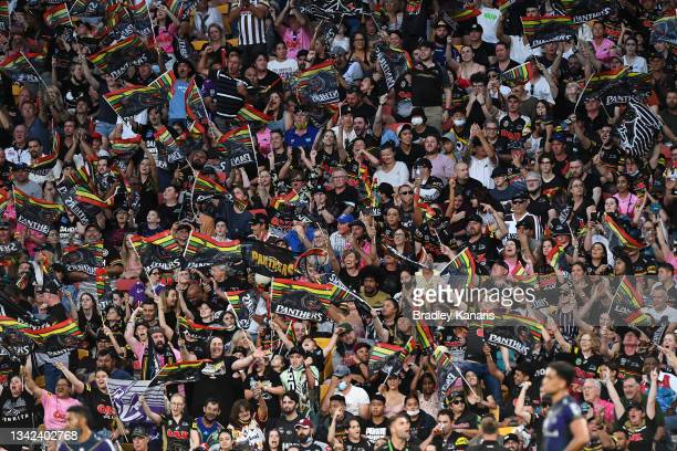 Panthers supporters cheer during the NRL Preliminary Final match between the Melbourne Storm and the Penrith Panthers at Suncorp Stadium on September...