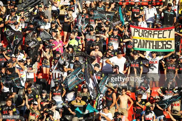Panthers supporters cheer during the round two NRL match between the Penrith Panthers and the South Sydney Rabbitohs at Penrith Stadium on March 17...