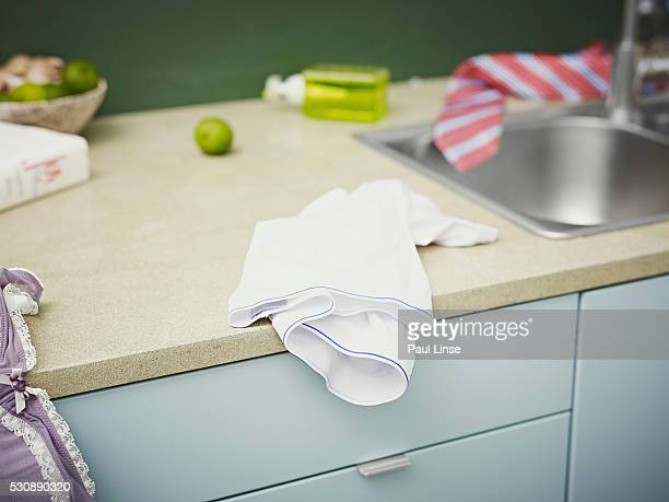 Panties on a kitchen counter
