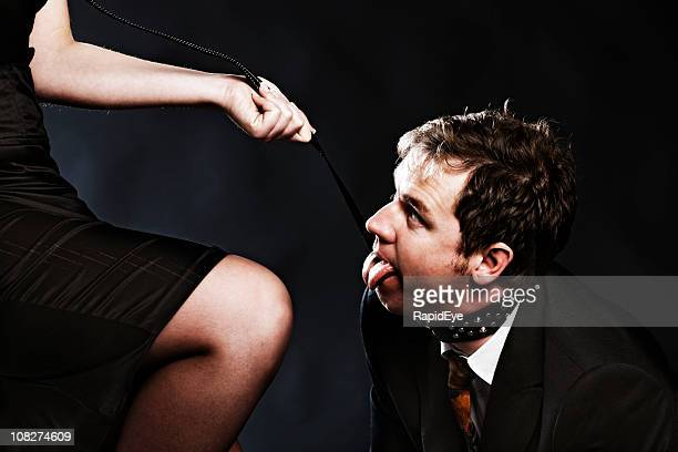 panting businessman on a leash - women dominating men stock photos and pictures