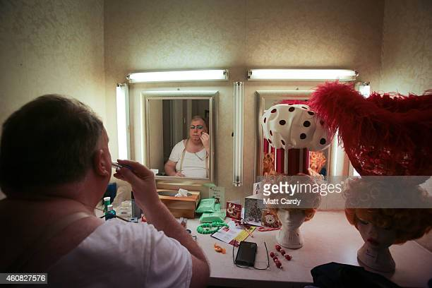 Panto dame Eric Potts prepares for his role as Sarah the Cook in The Bristol Hippodrome's production of Dick Whittington on December 23, 2014 in...