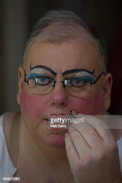 Panto dame Eric Potts prepares for his role as Sarah the Cook in The Bristol Hippodrome's production of Dick Whittington on December 23 2014 in...
