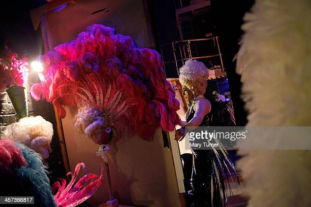 Pantomime Dame Ceri Dupree makes a quick costume change before returning to the stage as Princess Passionella in Sleeping Beauty at the Wolverhampton...