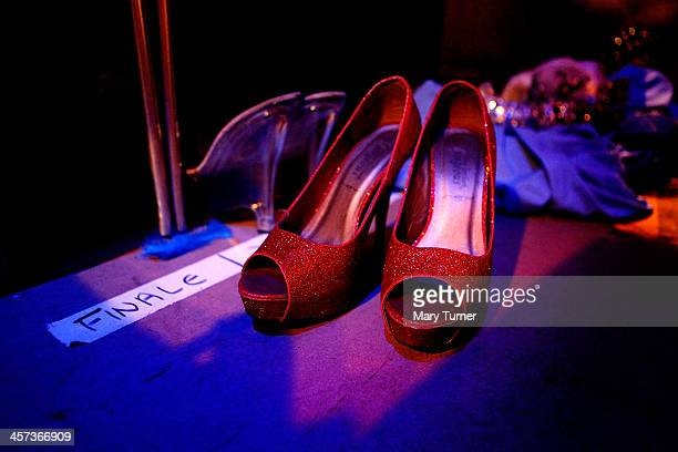 Pantomime Dame Ceri Dupree's shoes for the finale of Sleeping Beauty in which he is appearing as Princess Passionella at the Wolverhampton Grand...