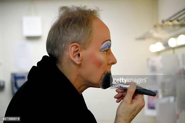 Pantomime Dame Nigel Ellacott does his makeup in his dressing room at Venue Cymru Theatre where he is performing as Queen Blodwyn in Sleeping Beauty...