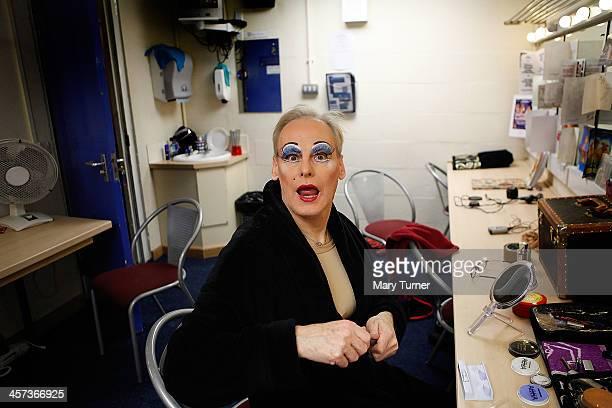 Pantomime Dame Nigel Ellacott in his dressing room at Venue Cymru Theatre where he is performing as Queen Blodwyn on December 14 2013 in Llandudno...