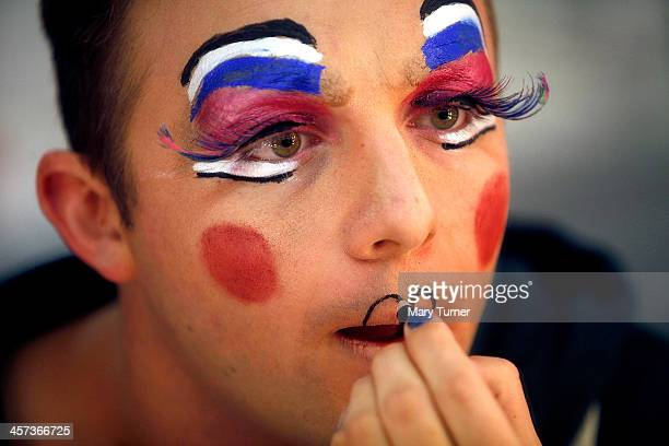 Pantomime Dame Steve Wickenden aged 28 puts on his lipstick before a matinee performance as Sarah the Cook in Dick Wittington at the Millfield Arts...
