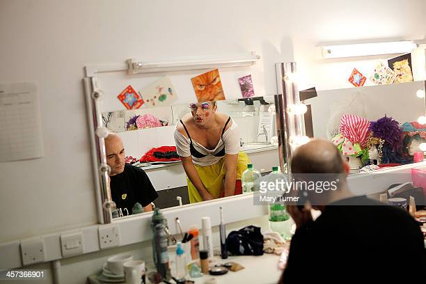Pantomime Dame Steve Wickenden in his dressing room as he transforms himself into Sarah The Cook at Millfield Arts Centre on December 4 2013 in...