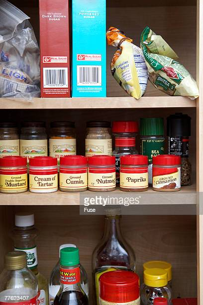 Pantry Cabinet Stocked with Spices and Condiments