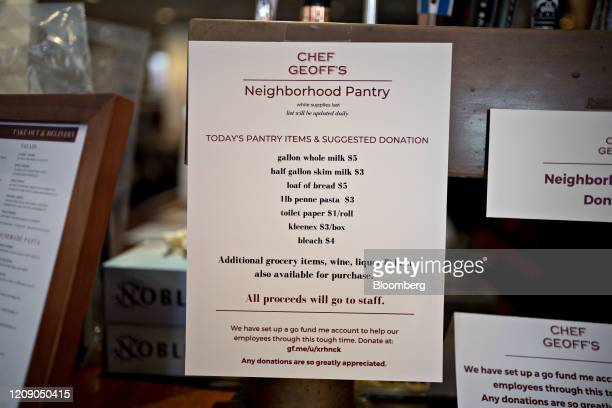 Pantry items for sale where proceeds go to staff members hangs on the bar at Chef Geoff's restaurant in Washington DC US on Thursday March 26 2020 As...