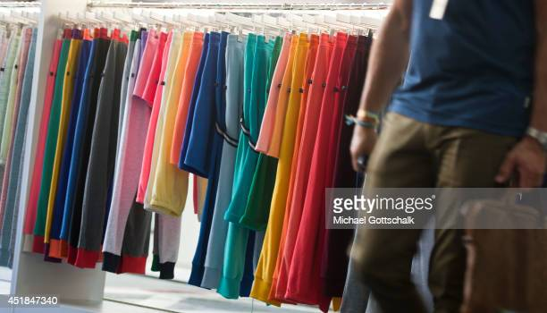 Pants are displayed on a clothes rack at the Bread and Butter trade show at the former Tempelhof airport on July 08 2014 in Berlin Germany