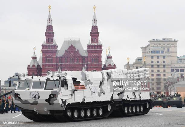 A PantsirSA air defense system Arctic edition rides through Red Square during the Victory Day military parade in Moscow on May 9 2017 Russia marks...