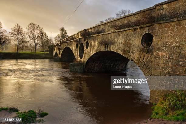 Pant-y-Goitre bridge over the river Usk at Llanvihangel Gobion near Abergavenny.