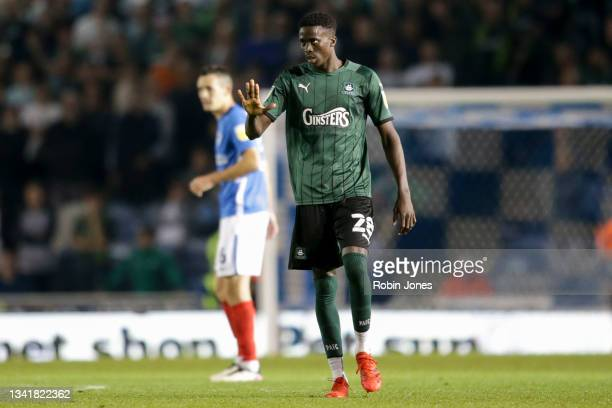 Panutche Camara during the Sky Bet League One match between Portsmouth and Plymouth Argyle at Fratton Park on September 21, 2021 in Portsmouth,...