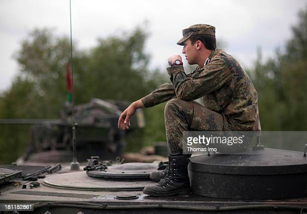 Panzergrenadiers motorized or mechanized infantry during a break on the military training area