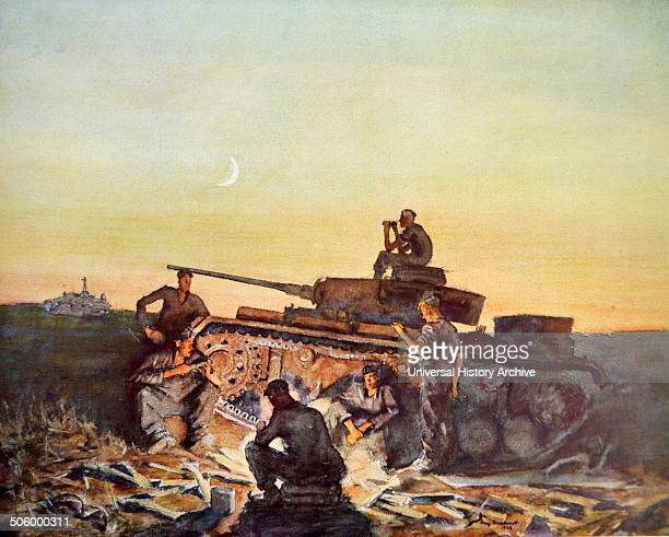 Panzers at rest in the Russian Steppes by Franz Eichhorst was a German painter engraver and illustrator one of a number of German artists known for...