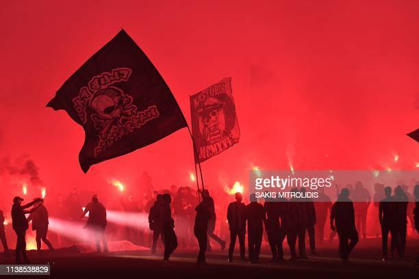 Paok FC fans celebrates winning the Greek Super League football title, the first time a non Athenian club has won in over 30 years, at the Tomba...