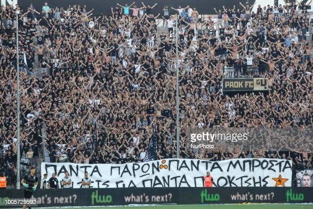 Paok'fans during Champions League second qualifying round first leg football match between PAOK FC and FC Basel at the Toumba stadium in Thessaloniki...