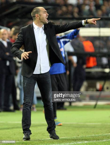 Paok's coach Igor Tudor gestures during the UEFA Europa League group C football match between PAOK FC and Borussia Dortmund at the Stadio Toumba in...
