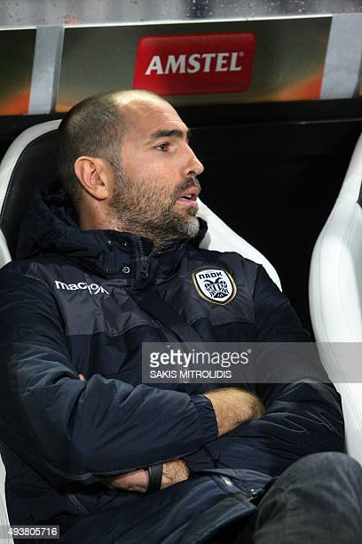 Paok's head coach Igor Tudor looks on during the UEFA Europa League Group C football match between PAOK FC Thessaloniki and FC Krasnodar at the...