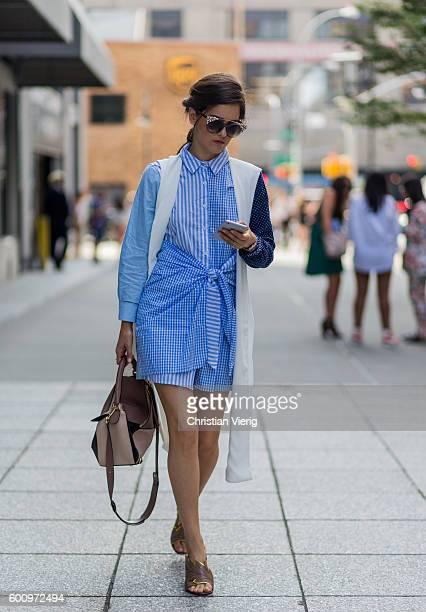 Paola Alberdi wearing a Loewe bag outside Marissa Webb on September 8 2016 in New York City