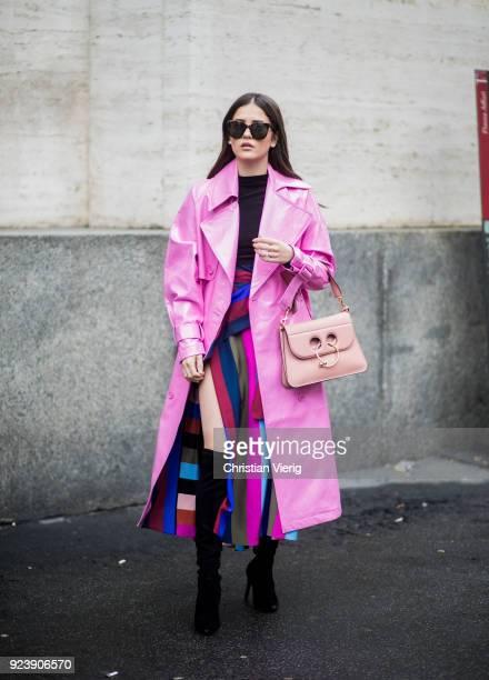Paola Alberdi wearing pink coat seen outside Salvatore Ferragamo during Milan Fashion Week Fall/Winter 2018/19 on February 24 2018 in Milan Italy