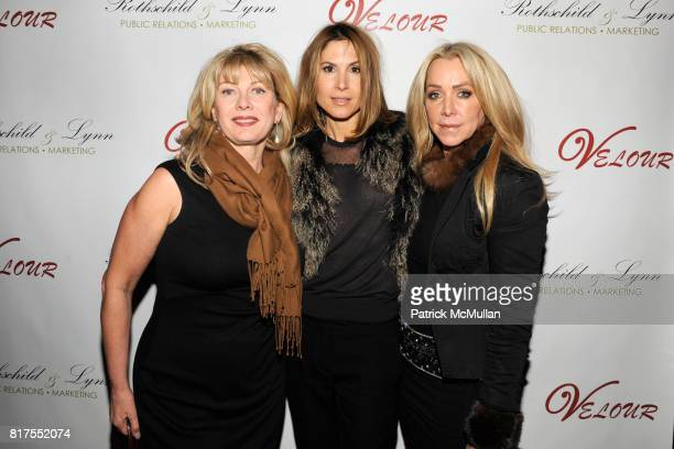 Paola Bacchini Liz Rose and Anna Rothschild attend Socialite Anna Rothschild's Annual Christmas Party at Velour Lounge on December 14 2010 in New...