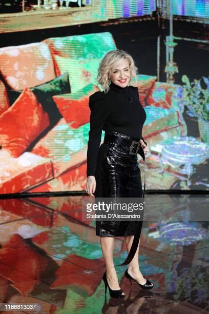 Paola Barale attends Che Tempo Che Fa TV Show on November 10, 2019 in Milan, Italy.