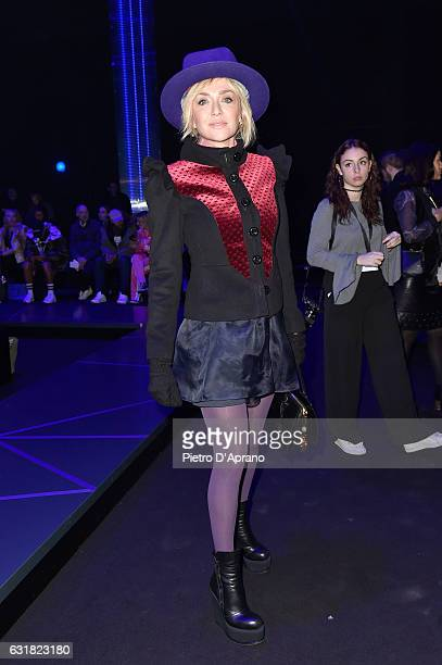 Paola Barale attends the Frankie Morello show during Milan Men's Fashion Week Fall/Winter 2017/18 on January 16 2017 in Milan Italy