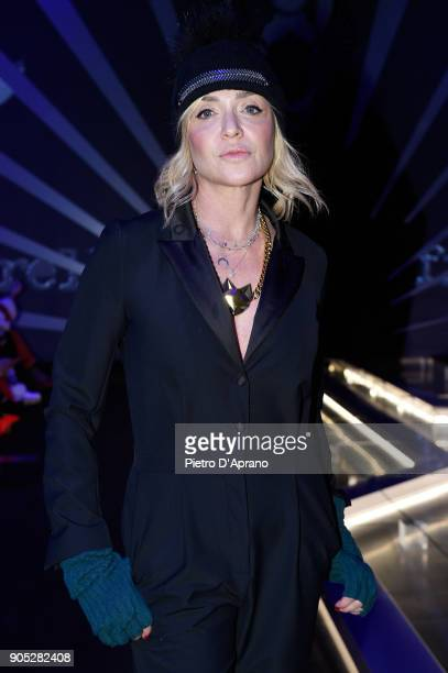Paola Barale attends the Frankie Morello show during Milan Men's Fashion Week Fall/Winter 2018/19 on January 15 2018 in Milan Italy
