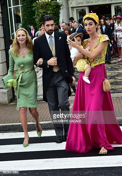 Paola Borromeo and Carlo Borromeo mother and brother of Beatrice Borromeo and Italian designer Marta Ferri leave the Hotel Des Iles Borromees for the...