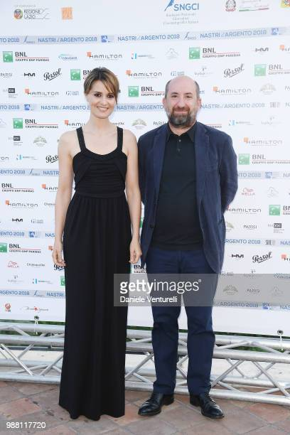 Paola Cortellesi and Antonio Albanese attend the Nastri D'Argento cocktail party on June 30, 2018 in Taormina, Italy.