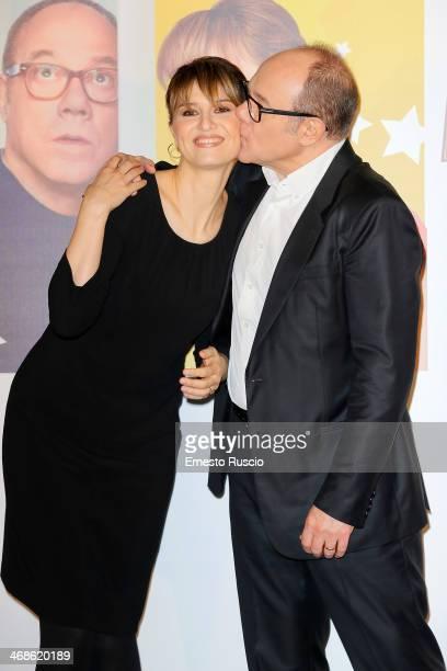 Paola Cortellesi and Carlo Verdone attend the 'Sotto Una Buona Stella' photocall at cinema Savoy on February 11 2014 in Rome Italy