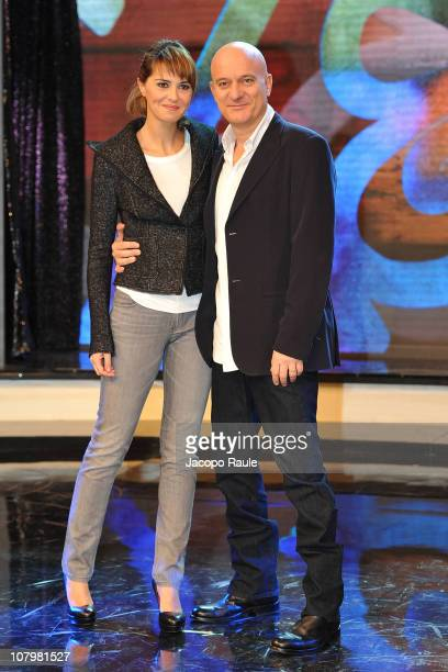 Paola Cortellesi and Claudio Bisio attend Zelig Italian TV Show Photocall on January 11 2011 in Milan Italy