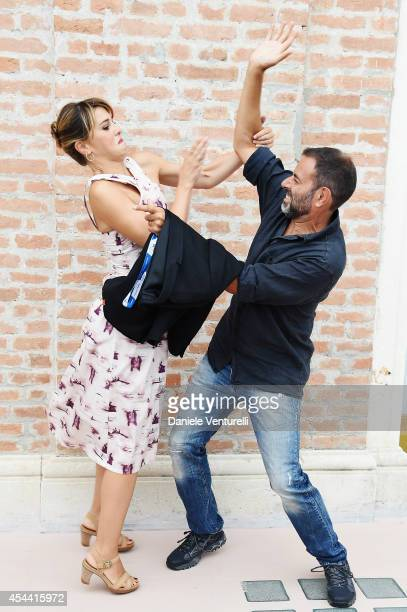 Paola Cortellesi and Fausto Brizzi attend the Kineo Award Photocall during the 71st Venice Film Festival at Hotel Excelsior on August 31 2014 in...