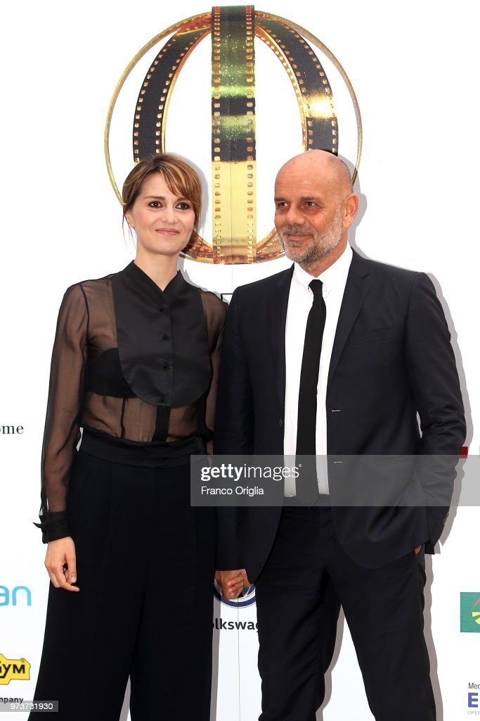 Paola Cortellesi and Riccardo Milani attend Globi D'Oro awards ceremony at the Academie de France Villa Medici on June 13, 2018 in Rome, Italy.