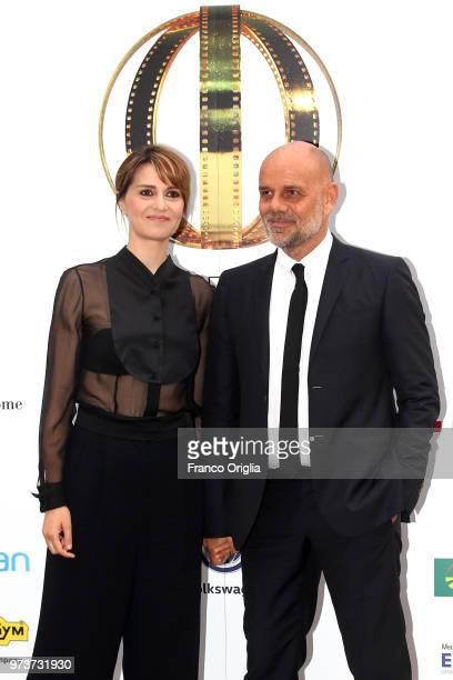 Paola Cortellesi and Riccardo Milani attend Globi D'Oro awards ceremony at the Academie de France Villa Medici on June 13 2018 in Rome Italy