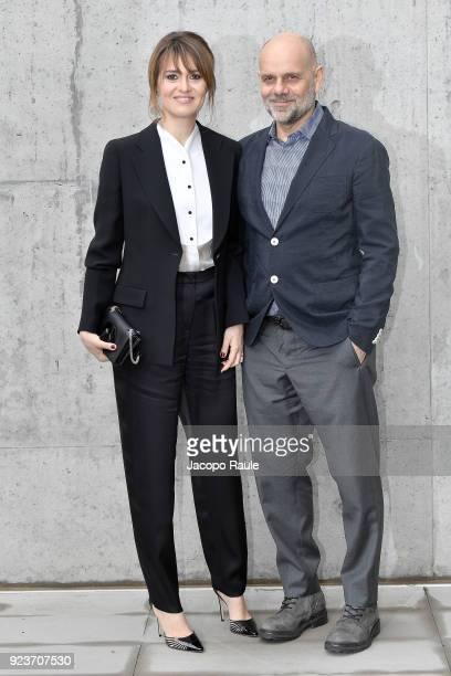 Paola Cortellesi and Riccardo Milani attend the Giorgio Armani show during Milan Fashion Week Fall/Winter 2018/19 on February 24 2018 in Milan Italy