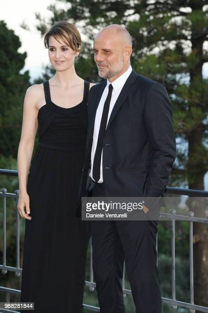 Paola Cortellesi and Riccardo Milani attend the Nastri D'Argento cocktail party on June 30 2018 in Taormina Italy