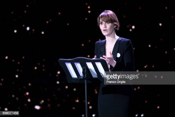 Paola Cortellesi attends the 62nd David Di Donatello awards ceremony on March 21 2018 in Rome Italy