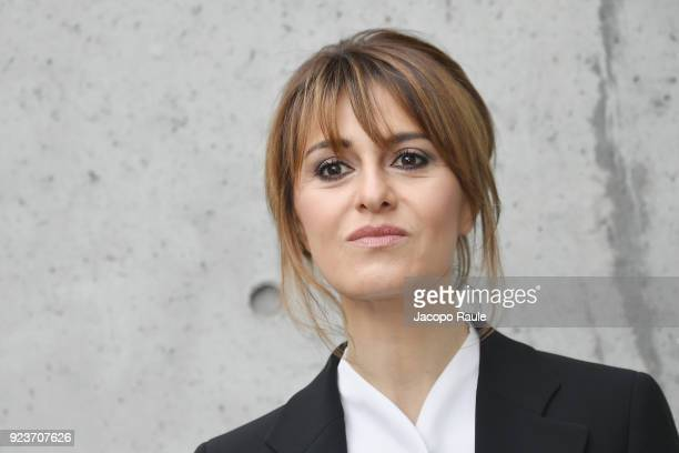 Paola Cortellesi attends the Giorgio Armani show during Milan Fashion Week Fall/Winter 2018/19 on February 24 2018 in Milan Italy