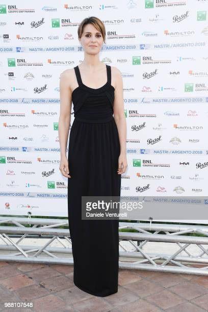 Paola Cortellesi attends the Nastri D'Argento cocktail party on June 30 2018 in Taormina Italy