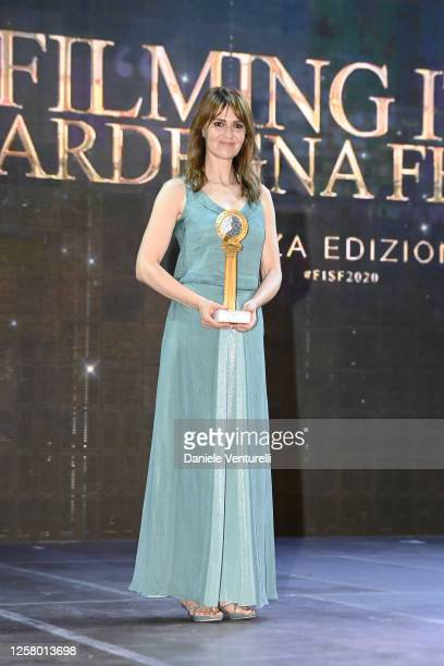 Paola Cortellesi attends the third day of Filming Italy Sardegna Festival at Forte Village Resort on July 24 2020 in Santa Margherita di Pula Italy