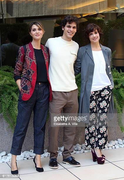 Paola Cortellesi Edoardo Valdarnini and Micaela Ramazzotti attend a photocall for 'Qualcosa Di Nuovo' at Visconti Hotel on October 5 2016 in Rome...