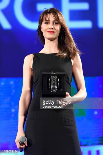 Paola Cortellesi on stage at the Nastri D'Argento awards ceremony in Taormina on June 29 2019 in Taormina Italy
