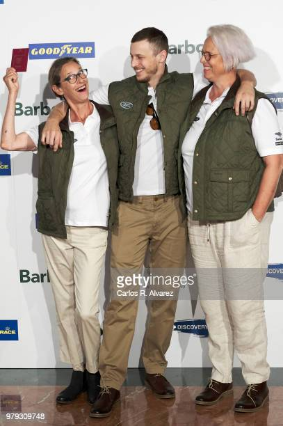 Paola Dominguin, actor Nicolas Coronado and Lucia Dominguin present 'Land Rover Discovery Challenge' 2018 at the Barajas Airport on June 20, 2018 in...